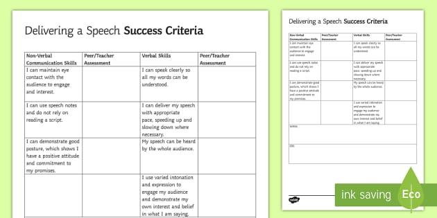 delivering a persuasive speech checklist speech checklist assessment