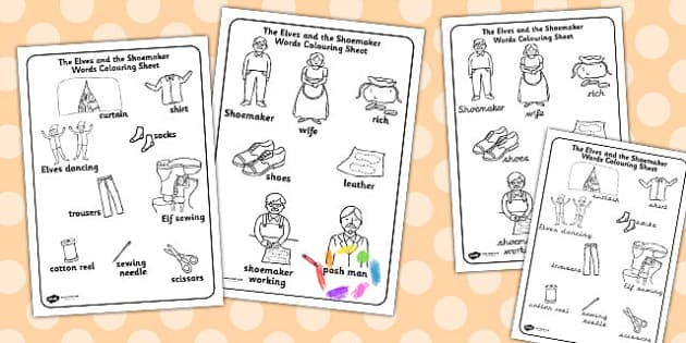 The Elves And The Shoemaker Words Colouring Sheet Colouring