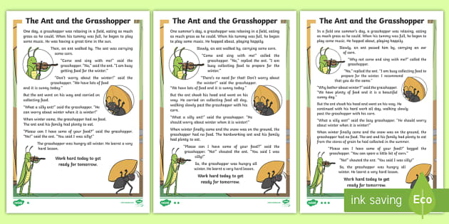 It is an image of Declarative The Ant and the Grasshopper Story Printable