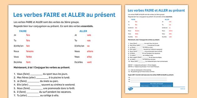 Le Present Des Verbes Faire Aller Present Tense Faire And Aller French