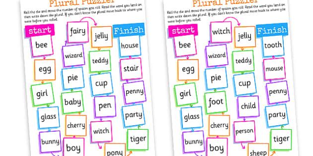 Plurals Board Game Plurals Plural And Singular Plural Game