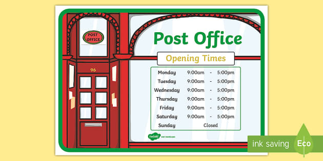 Post Office Role Play Opening Times Display Poster - Post ...
