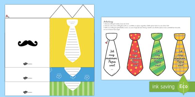 Vatertagskarte Krawatte Bastelanleitung Fathers Day Flap Tie