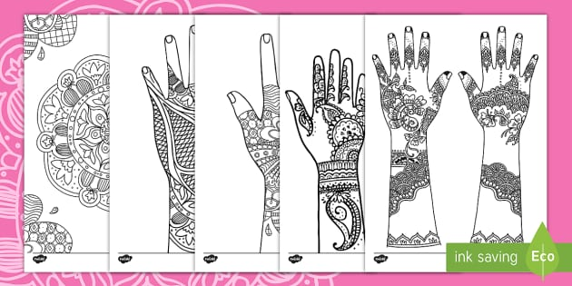 Mehndi Pattern Colouring Pages