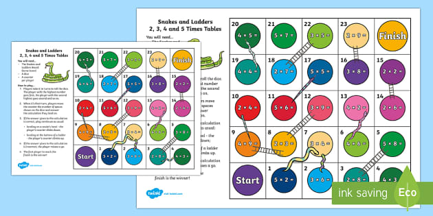 Snakes and ladders 2 3 4 and 5 times tables board game for 10 times table game