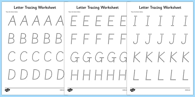 Numbers, Shapes And Letters Tracing Worksheets K-1