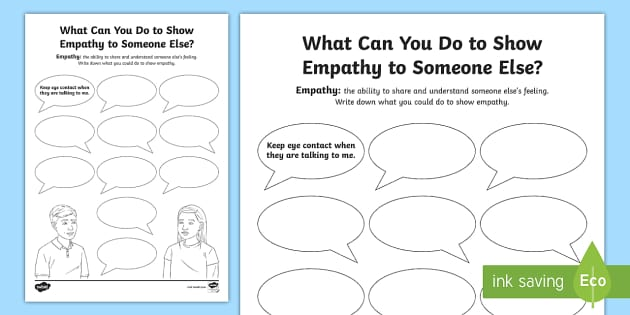 What Can You Do To Show Empathy Worksheet Feelings