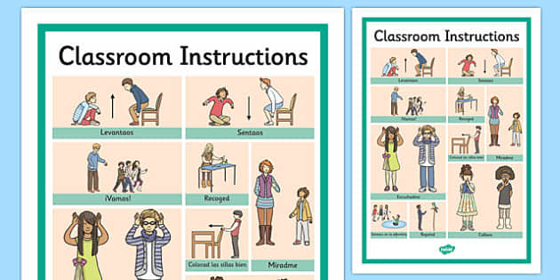 classroom instructions word grid spanish. Black Bedroom Furniture Sets. Home Design Ideas