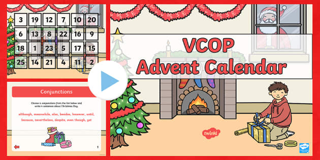 vcop advent calendar powerpoint christmas xmas words. Black Bedroom Furniture Sets. Home Design Ideas