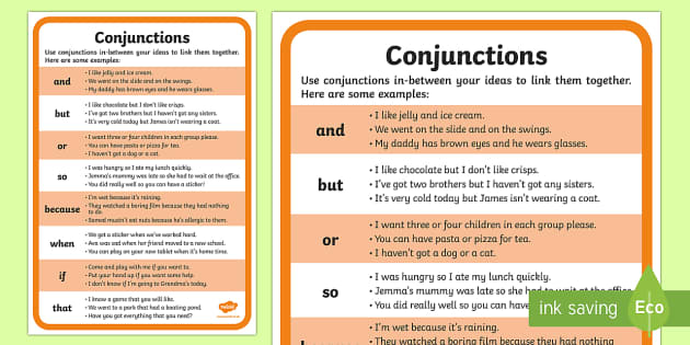 conjunctions examples word mat  teacher made