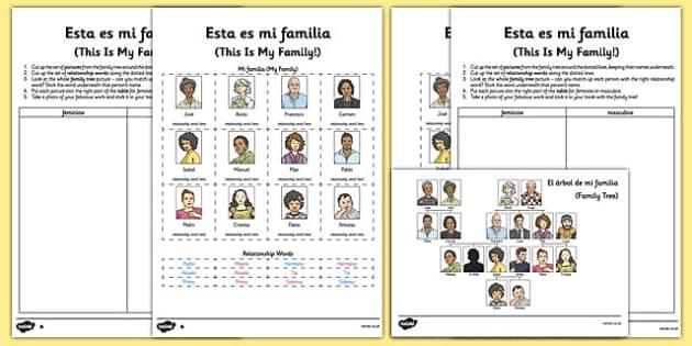 esta es mi familia spanish worksheet activity sheet spanish. Black Bedroom Furniture Sets. Home Design Ideas