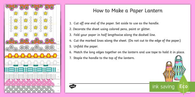 Diwali Paper Lantern Craft Templates - Diwali Paper Lantern