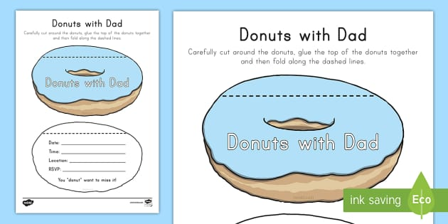 Donuts with Dad Invitation Cards - Father's Day for Early Childhood, Father's