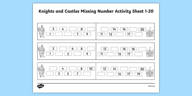 Knights And Castles Missing Number Worksheet 1-20