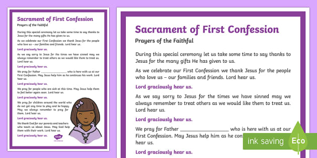 America First Repo >> Sacrament of First Confession Prayers of the Faithful Print-Out