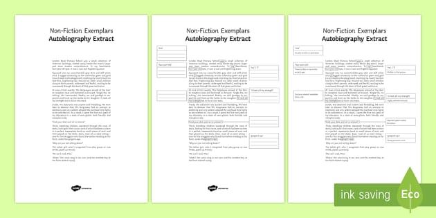 Autobiography Exemplar Resource Pack Teacher Made