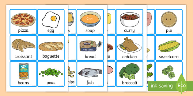Food Word And Picture Cards Food Cards Cards Showing