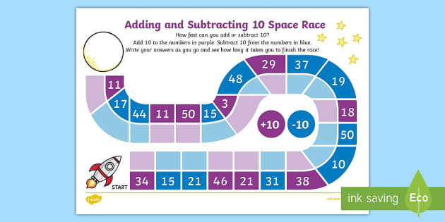 adding and subtracting 10 race worksheet activity sheet