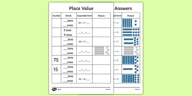 place value to 2 digits worksheet worksheet place value number. Black Bedroom Furniture Sets. Home Design Ideas