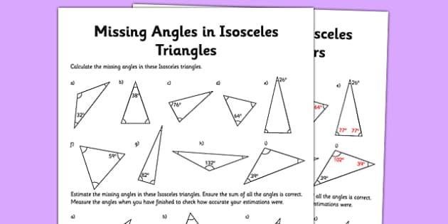 calculating angles of isosceles triangles worksheet    worksheet