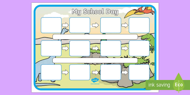 dinosaur themed individual visual timetable template
