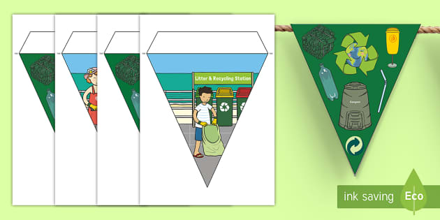 Recycling-Themed Display Bunting