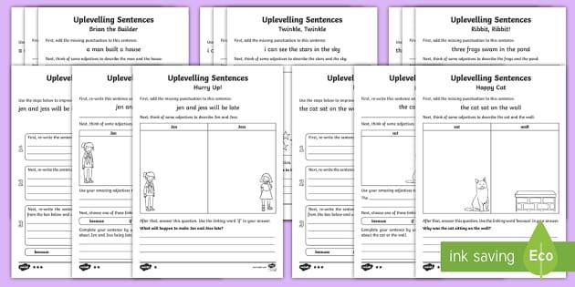 ks1 uplevelling sentences differentiated activity sheets. Black Bedroom Furniture Sets. Home Design Ideas