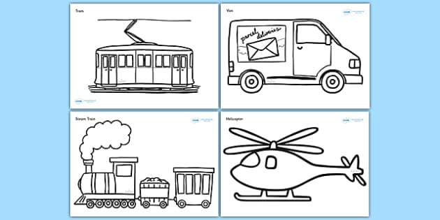 Modern Transport Colouring Sheets Transport Colouring