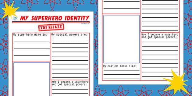 my superhero identity worksheet