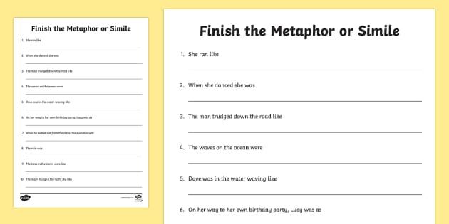 Finish the metaphor or simile worksheet activity sheet ibookread ePUb