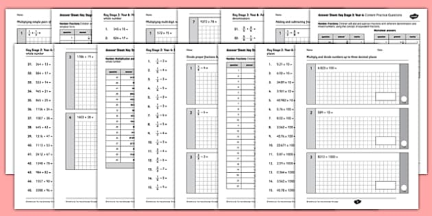 Key Stage 2 Arithmetic Test Year 6 Content Practice Questions