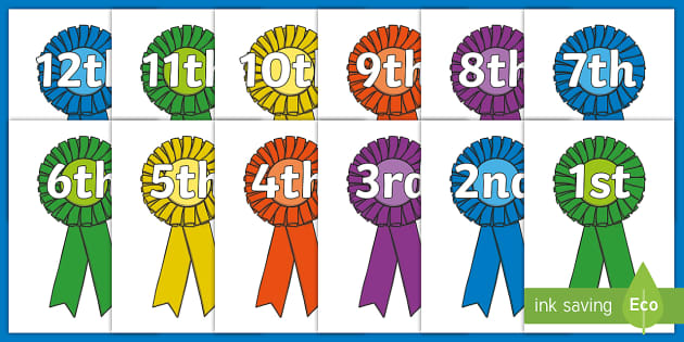 Free Ordinal Numbers To 20 Display Posters Counting