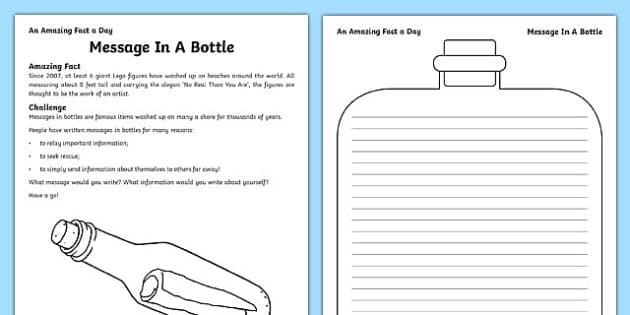 message in a bottle worksheet activity sheet worksheet. Black Bedroom Furniture Sets. Home Design Ideas