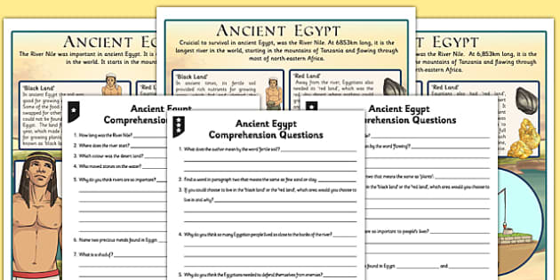 Survival in Ancient Egypt Differentiated Reading Comprehension Activity
