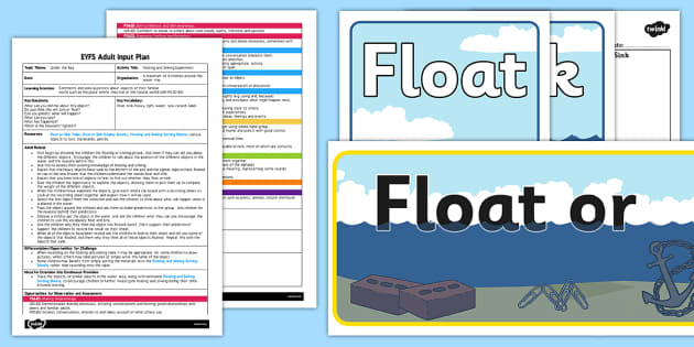 Floating amp Sinking Experiment EYFS Adult Input Plan