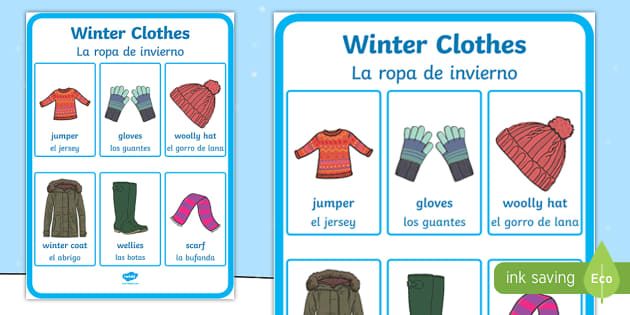 Winter Clothes Vocabulary Display Poster - English/Spanish