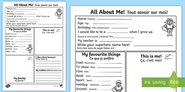 All About Me Activity Sheet EnglishFrench All About Me – All About Me Worksheet