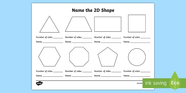 name the 2d shape worksheet naming shapes activity. Black Bedroom Furniture Sets. Home Design Ideas