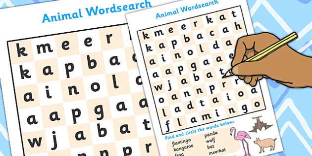 Animal Wordsearch, Animal, Animals