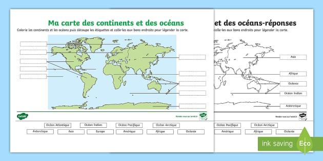 Feuille D Activites Carte Des Continents Et Oceans A Legender