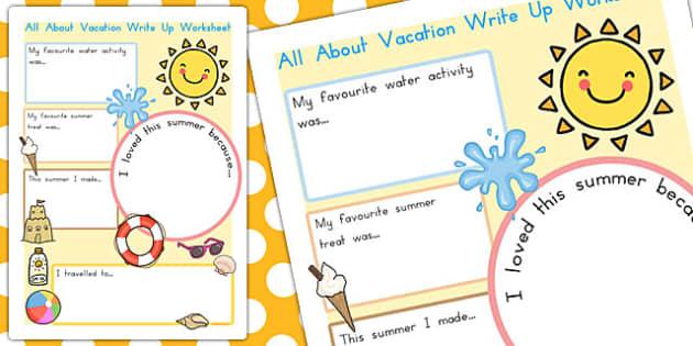summer vacation write up worksheet summer vacation write up. Black Bedroom Furniture Sets. Home Design Ideas