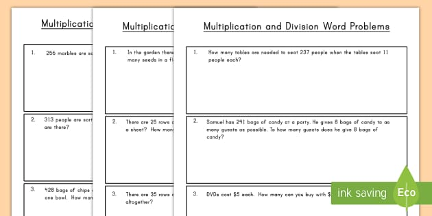 Differentiated Word Problems Using Multiplication and