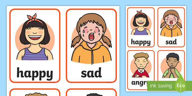 image about Feelings Cards Printable called Thoughts Faces Playing cards - Studying Software - Twinkl