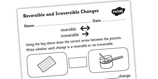 Changing States Reversible Irreversible Changes Worksheet