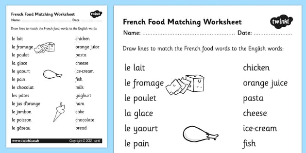 french food matching words worksheet french food match. Black Bedroom Furniture Sets. Home Design Ideas