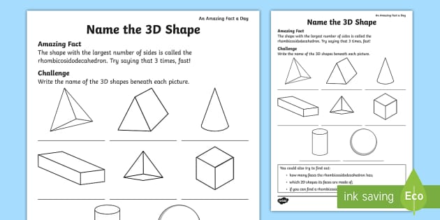 name the 3d shape worksheet activity sheet amazing fact of. Black Bedroom Furniture Sets. Home Design Ideas