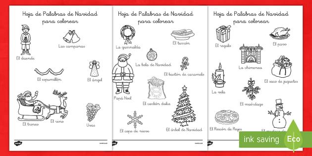 Hojas de colorear - Palabras de Navidad - spanish, christmas