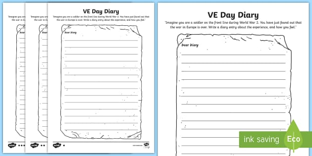 VE Day Diary Writing Template - ve day, diary, writing, template