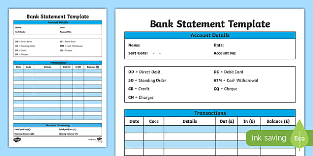 Bank Statement Template   CfE, Everyday Maths, Real Life Maths  Blank Bank Statement Template