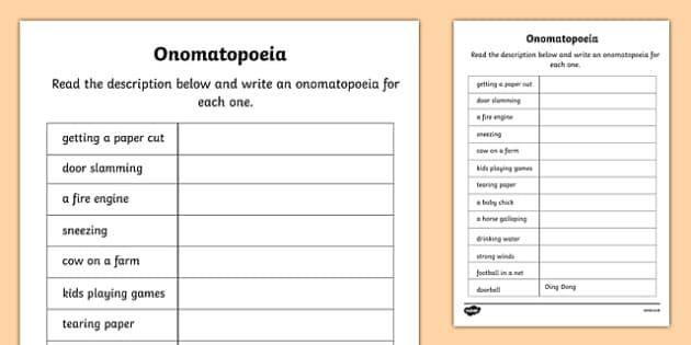 Onomatopoeia Worksheet - onomatopoeia, literacy, worksheet